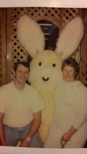 My parents with me as the Easter Bunny, 1992
