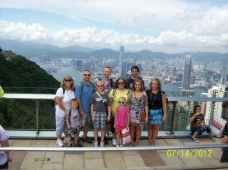 Our family and Dina's family at the Peak in Hong Kong, July 2012
